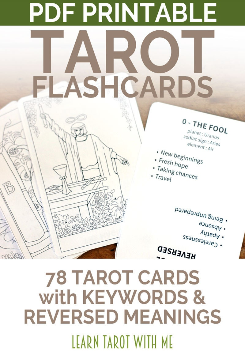 Delicate image throughout printable tarot flashcards