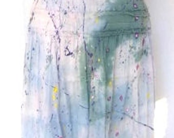 Vintage Hand Painted Hand Dyed Halter Top Dress