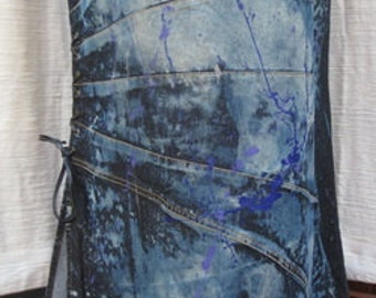 "CUSTOM Vintage DENIM Skirt 36"" Waist 41"" Length   WS107"