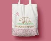 Tote Bag California, sac en toile, sac cabas, sac de courses, sac en coton, ours, origami