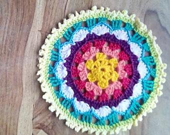 Handcrafted Crochet Sunny Flower Mandala - Cute and Cheerful