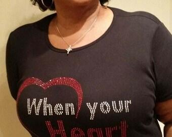 Bella short sleeve Rhinestone logo tee/When Your Heart is on the Field