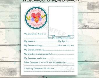 Grandma Printable Cute All About Grandma Questionnaire for kids, Grandma Gift, Keepsake, Sweet interview for kids