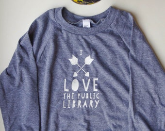 I Love the Public Library - Soft Kids Long-Sleeved Raglan - TINY CABIN