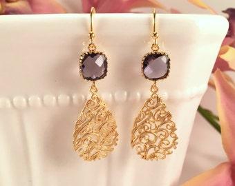 Purple Amethyst Earrings, Matte Gold Filigree Earrings, Teardrop Dangle Earrings, Wedding Jewelry, Bridesmaid Earrings, February Birthstone