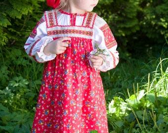 Russian traditional costume Mashenka for girls, Sarafan, Russian costume, Slavik dress, Russian girl dress, Flowered dress, Ethnic dress