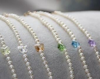 Girl bracelets. Pearl bracelets. Baby jewelry. 14K Gold Filled. Swarovski Crystal. Gifts for baby girls. Handmade jewelry. Children Jewelry.