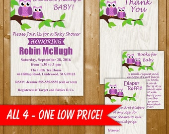 Owl Baby Shower Invitation Set in Purple, Diaper Raffle, Books for Baby, Thank You Note, Purple Owl Baby Shower Invitation