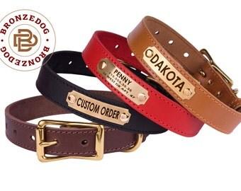 Dog Collar Leather brass buckle Red Brown Black Mustard