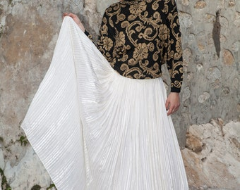White Skirt, Pleated Skirt, Long, Silk Skirt, Silver-Gold thread