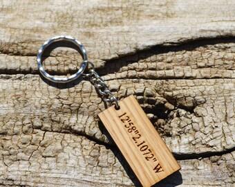 Coordinates Keychain in Oak, Wooden Key Ring with Engraved Latitude Longitude Coordinates