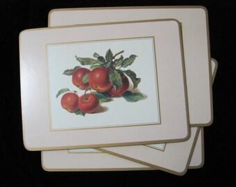 Vintage Placemats, Pressed Wood, Fruit Motif, Set of 4