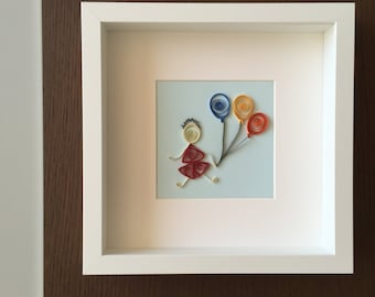 Paper Quilled Little Dreamer in Frame