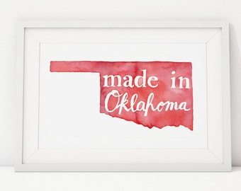 Made in Oklahoma Watercolor Nursery Print | Sooner Red