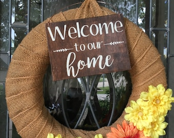 Welcome Sign, FREE SHIP, Wooden Door Sign, Porch Sign, Rustic Sign, Outdoor Decor, Porch Decor, Outdoor Sign, Front Door Sign, Wedding Sign