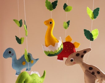 Dinosaur Mobile, Nursery Mobile,Baby Crib Mobile, Zoo Mobile, Baby Kit Mobile made from felt completely Handmade, Lovely