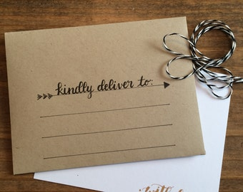 Custom Hand Lettered Personalized Flat Card and Envelope Set of 10, Custom Flat Card Set of 10