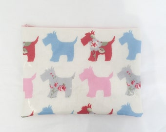 Unique iPad Sleeve/ iPad Case / iPad Holder - made from oilcloth with pink, blue, red floral dogs - can be customised to fit any tablet