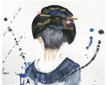 Watercolour, Geisha, back hair. Remember the Japan