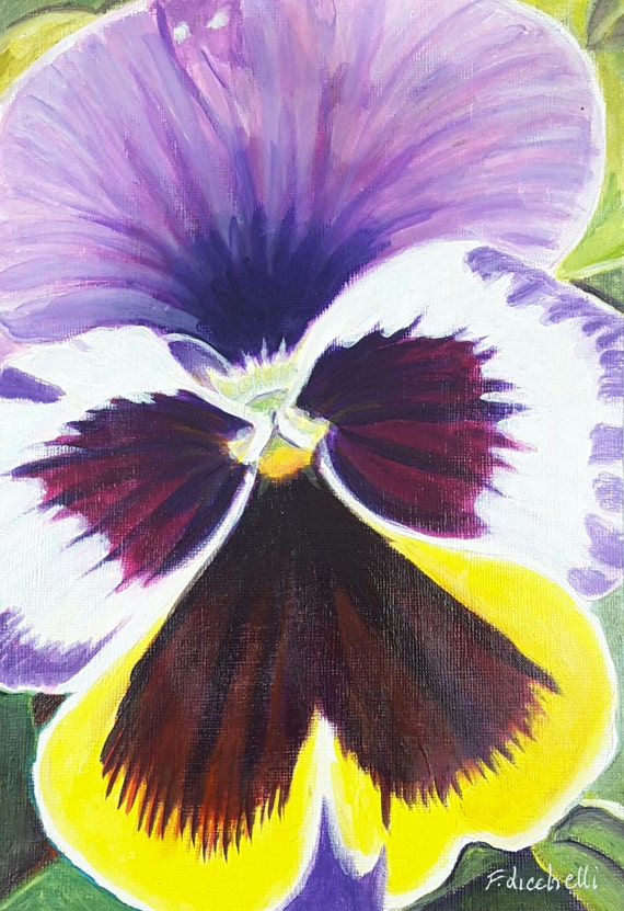 Acrylic picture on paper depicting a pansy, original artwork by Francesca Licchelli, gift idea for her, modern decore, home decoration.