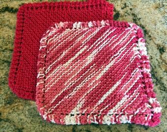 Handmade knit pair of dishcloths - vibrant colors