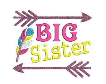 Big sister embroidery design , Big sis embroidery design , Big sister shirt design ,  Feather embroidery design , Arrow embroidery design