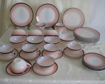 "Hazel Atlas Ovide Pink/Black/White Platonite -  ""Informal"" -  36 pieces"