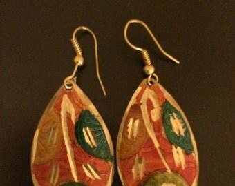 Multicolor Etched Metal Earrings