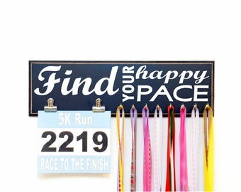 Race Bib Medal Holder - Find Your Happy Pace Race Bib Holder and Running Medal Holder - Race Medal Display - Running Medal Rack