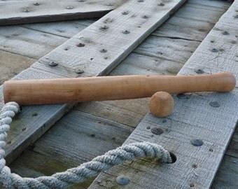 Wooden bat and ball