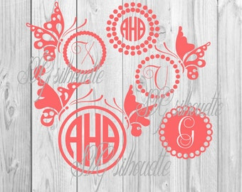 Сircle monogram frames Butterflies frames SVG Cutting file, Vector Clipart, Vinyl design, png, svg, dxf files for Silhouette, Cricut