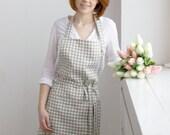 Semi-soft checked linen apron, soft linen apron, apron, gift for her, washed linen apron, beige apron