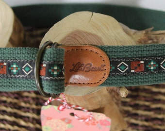 1980s vintage LL Bean, cotton web belt with tribal accents women's XS(28)