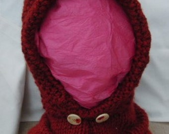 Warm and Cosy Winter Fox Cowl Hood Hand Knitted in Super Chunky Yarn