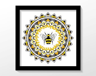 HONEY BEE MANDALA print. Wall decoration, wall art, illustration, bedroom decor, gift, present for him or her.
