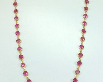 "Raindrops Necklace - Rose/Gold 36"" Swarovski crystal"