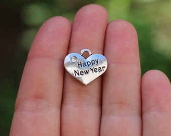 New years gift etsy 10 pieces stamped heart happy new year heart charm heart charm with rhinestone negle Gallery