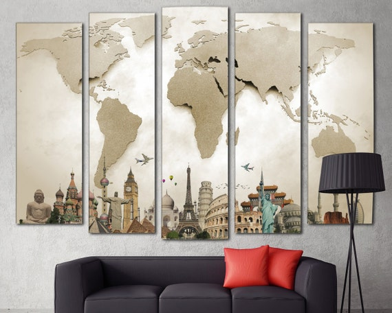 art 5 panel art extra large world map on canvas wall art living room