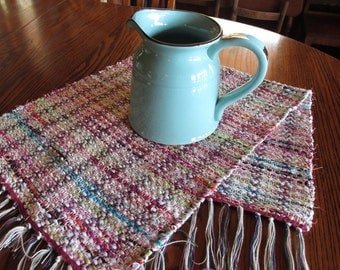 Handwoven Rag Runner, Rag Runner, Rag Rug, Handwoven, Pink, Cream, Lime, Teal, Runner, Weaving, Table Runner