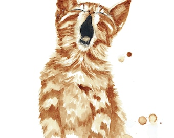 Kitten  -  Before Coffee-painted with coffee