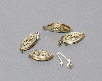 Vintage Sterling Silver Two Part filigree,  End Clasp.