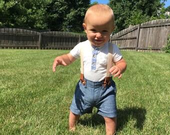 Baby Boy Suspender Shorts