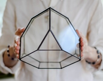 Large Crystal  Glass Geometric Terrarium / Handmade Glass Succulent Planter / Exclusive Glassware / Gift / Envelopes Wedding Table Card Box