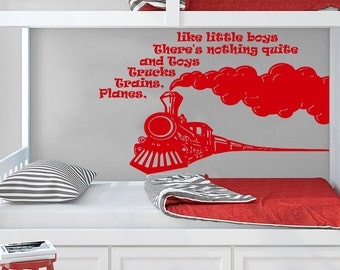 Wall Decals Quotes Vinyl Sticker Decal Quote Planes Trains Trucks and Toys Phrase Bedroom Kids Nursery Baby Room Home Decor C240