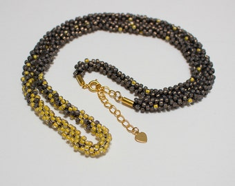 Yellow and grey/bronze kumihimo necklace