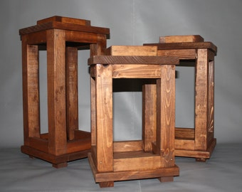 """Handcrafted Wooden Lanterns - Set of 3 (8"""" square x 13""""/15""""/17"""")"""