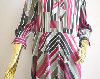 vintage 70s striped dress, 1970s dress, vtg dress