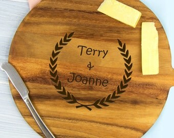 Personalised His and Hers Wreath Cheeseboard - Engraved Wedding Anniversary Engagement Gift