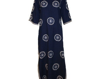 Vintage Embellished Navy and Ivory Caftan 1960s