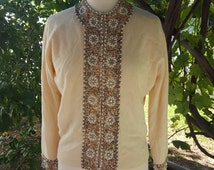VOLUP Large Extra Large Beaded 1960's Milord Sgt. Pepper's Lonely Hearts Club Band style sweater Hong Kong Hand Tailored